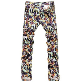 Skulls Art Drawing Print Colored Slim Fit Straight Denim Jeans Pants