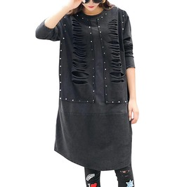Rocker Riveted Ripped Long Sleeve Shirt