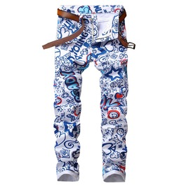 3 D Letters Graffiti Printed Blue White Slim Fit Denim Jeans Pants