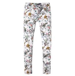 Monkey Snake Animal Printed Stretch White Denim Jeans Pants