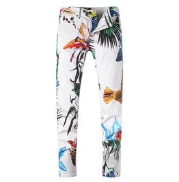 Birds Flowers Colored Tropical Prints Slim Straight Stretch Denim Jeans