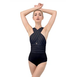 Elliz Clothing's Barb Wire Cross Front Low Back Swimsuit. One Piece (Black)