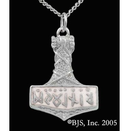 Thor Hammer Rune Symbols White Pearl Enameled Necklace Sterling Silver
