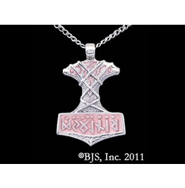 That Which Smashes Thor's Hammer Pink Enamel Necklace Sterling Silver