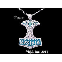 Viking Thor's Hammer Blue Gemstone Enameled Necklace In Sterling Silver