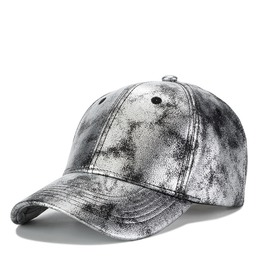Silver Reflective Baseball Cap, Men Women Adjustable Sport Pu Leather Caps