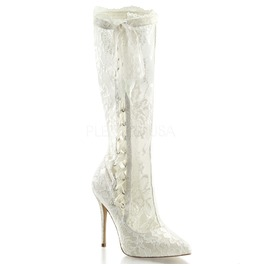 Amuse Ivory Lace Mid Calf Gothic Lolita Boot Size 11