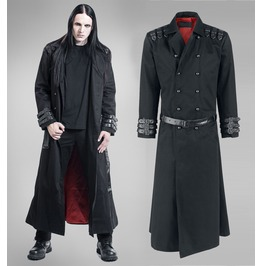 Steampunk Goth Army Style Long Jacket Mens Vampire Gothic Coat