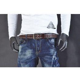 78e42d2777b Brown Jeans Belt Carved Detail