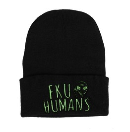 Black Beanie Embroidered Fuck You Humans Nwpat29