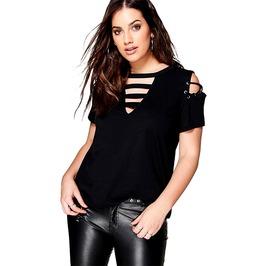 Rebelsmarket womens cold shoulder v neck plus size top t shirts 6