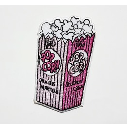 Pink Pop Corn Embroidered Iron On Patch.