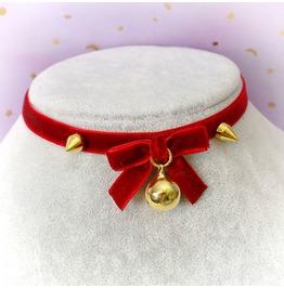 Necklace Choker Red Velvet Bow Red Gold Bell Spikes , Handmade , Goth Lolit