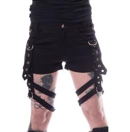 Women Gothic Shorts Black Denim Badass Babes Sexy Mini Shorts Detachable St