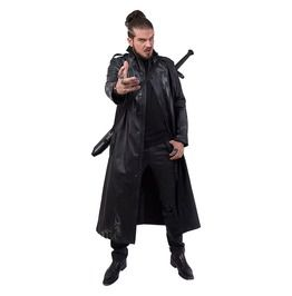 2f1a6810856 Death Bones Gothic Trench Coat Pu Leather With Full Zip