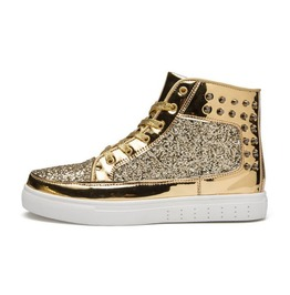 Gold High Top Sneakers With Glitter And Studs