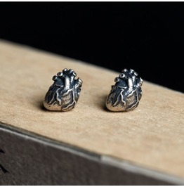 S925 Sterling Silver Retro Punk Heart Personalized Earrings