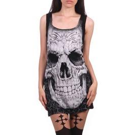 Tiberio Dark Side Large Skull Print Graphic Black Women Tank Tunic T Shirt