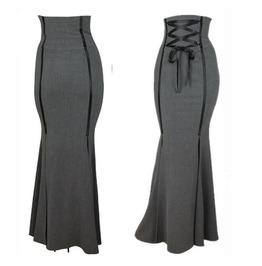 Women's High Waist Floor Length Fishtail Skirt