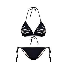 Black Skeleton Hands Tie Side Halter Bikini One Size