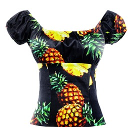 Women's Fashion Pineapple Printed Off Shoulder Standard Tops