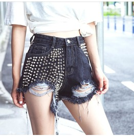 European And American High Waist Rivets Hot Pants Furry Hole Wide Shorts