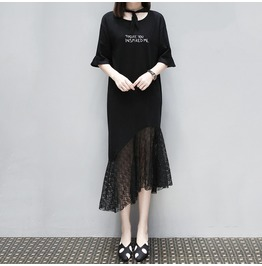 Today, You Inspired Me, Patchwork Asymmetric Lace Black Dress