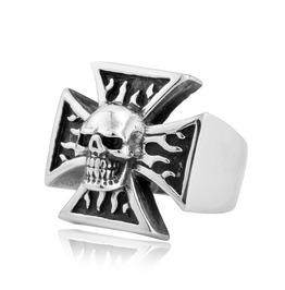 Men's Punk Cubic Zirconia Skull Titanium Stainless Steel Biker Rings