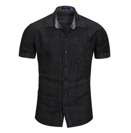 Men's Turn Down Collar Slim Fitted Short Sleeve Denim Shirt