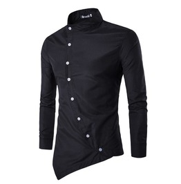 Men Round Collar Long Sleeves Oblique Buttons Tops