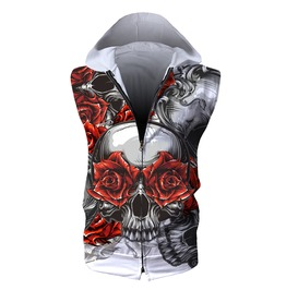 Elliz Clothing's Zip Up Sleeveless Hoodie Skull Graphic White Hooded Vest