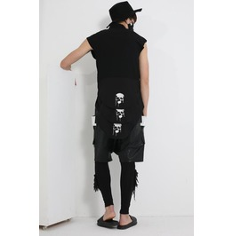 Men Round Collar Sleeveless Three Layer Printed Skull Long Tops