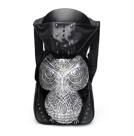 Night Owl Hooded Backpack Studded Leather Laptop Backpack