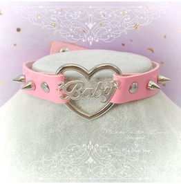 Baby Girl Choker Necklace Collar Pink Faux Leather Heart Spikes, Adult Baby
