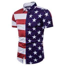 Men Shirt Collar Stars And Striped Short Sleeves Tops
