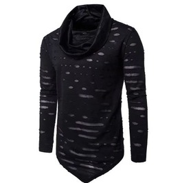 Cool Men Distressed Asymmetric Triangle Long Sleeves Tees