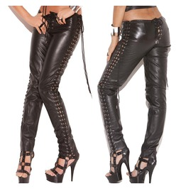 Women Genuine Leather Pant Fetish Fashion Gothic Style Side Lace Up Pant