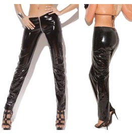 Women Vinyl Zip Pant Gothic Front Back Zip Shine Pant Women Fetish Vinly Pa