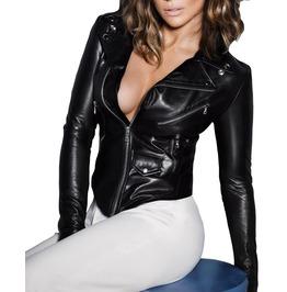 Women's Genuine Lambskin Leather Jacket Gothic Soft Slim Fit Women Jacket