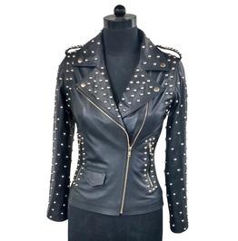 Women's Motorcycle Leather Jacket Slim Fit Goth Style Biker Black Jacket