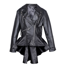 Women's Black Leather Coat Slim Fit Fashion Leather Jacket Leather Frock Co