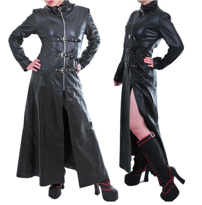 608a4ef353d Women Black Genuine Leather Coat Goth Trench Military