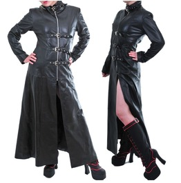 Women Black Genuine Leather Coat Goth Trench Military Style Long Leather Co