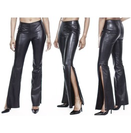 Women's Skinny Stylish Leather Pant Ladies Gothic Fetish Fashion Leather Pa