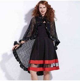 Lace Up See Though Goth Bulcke Goth Victorian Womens Poncho