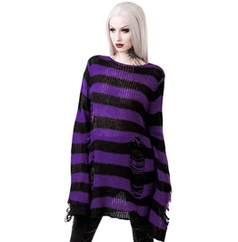 Killstar Wonka Knit Purple And Black Striped Distressed Sweater Ks17