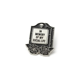 Killstar In Memory Of My Social Life Enamel Pin Grave Goth K.Pin.U.3038
