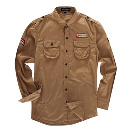 Men's Turn Down Collar Multi Pocket Cargo Slim Fitted Shirt