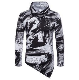 Men's Fashion Printed Asymmetrical Hem Long Sleeve T Shirt