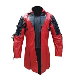 Gothic Steampunk Mens Red And Black Leather Coat Goth Matrix Trench Coat